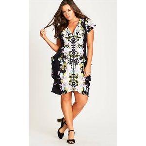 City Chic Printed Zip Front Tunic Dress XS AU14